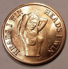 Fun gag gift, lucky novelty adult token, nude naked sexy girl lady, brothel coin