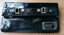 Marc By Marc Jacobs Black Patent Foldover Clutch Bag