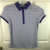 New NWT Women's Nike Golf Short Sleeve Striped Polo Shirt Purple White Medium