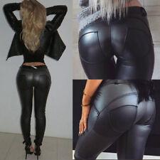 3XL Stock Wet Look Faux Leather Skinny Strech Clubwear Leggings Pants Trousers