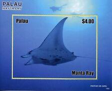 Palau 2019 MNH Manta Ray Rays 1v S/S Fish Fishes Marine Stamps