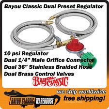 Dual LPG Propane Gas Regulator Preset High Pressure 10 psi Bayou Classic M2HPH
