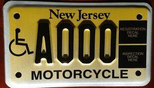 New Jersey HANDICAP MOTORCYCLE license plate sample Bike Cycle Motorbike Harley