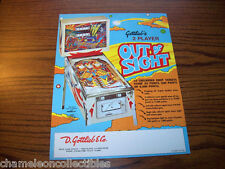 OUT OF SIGHT By GOTTLIEB 1974 ORIGINAL NOS FLIPPER PINBALL MACHINE SALES FLYER