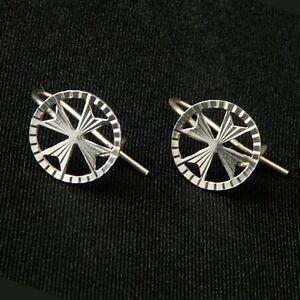 Sterling Silver 925 Amalfi Malta Maltese Cross  Earrings Hook Hallmarked 925