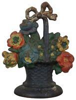 "Antique Victorian 6 lb Cast Iron Flower Basket Bouquet Door Stop Americana 8"""