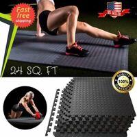 24 SQFT Workout Floor Mat GYM Home Fitness Exercise RUBBER FLOORING Tiles Garage