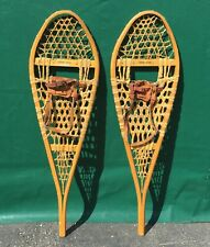 Very Nice Vintage SNOWSHOES 42x12 Snow Shoes LEATHER BINDINGS W@W!