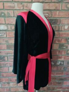 Original Vintage 1970s Black Velvet Red Satin BoHo Gyspy Style Bell Sleeves Top