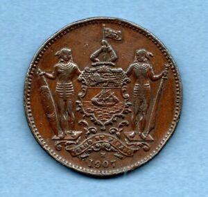 1907 H, BRITISH NORTH BORNEO ONE CENT COIN. MALAYSIA. SCARCE DATE.