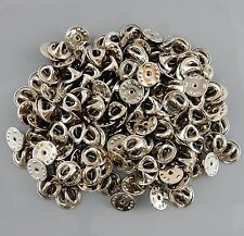 100 New Silver Brass Tie Tacks 12mm Pad made in USA findings parcel lot