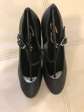 """AND WIDES STUDENT FOOTLIGHT 650 BLACK 2"""" HEEL ALL LEATHER NEW MED"""