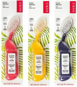 Radius Toothbrush Flex Brush, Right Hand - 3 Pack in Assorted Colours, BPA Free