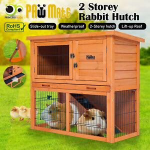 Rabbit Hutch 2 Storey Wooden Large Metal Run Cage Chicken Ferret Coop Guinea Pig