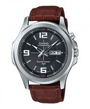 Casio MTP-E202L-1A Men's Illuminator Brown Leather Band Black Dial Dress Watch