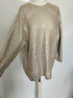 New H&M Women Jumper Beige Silver Metallic Wool Blend Oversized Chunky Size S 10