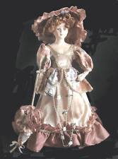 """COLLECTIBLE 18"""" RED HAIRED BISQUE PORCELAIN  VICTORIAN DOLL WITH STAND"""