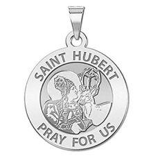 Saint Hubert Religious Medal - 3/4 Inch Size of a Nickel -Sterling Silver w / en