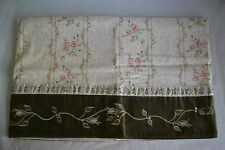 JCPenney Briar Rose Green Shabby Chic Pink Flowers Embroidered Valance