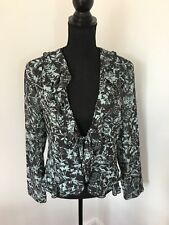 Oscar B Grey Terquoise Mesh Frilly Tie Cover Up Jacket Size 14 Wedding VGC