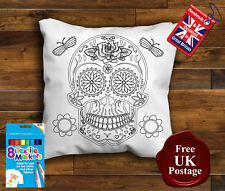 Sugar Skull Cushion Colouring Cushion Cover, Colouring pillow, with/without Pens