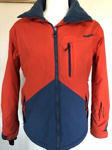 Quiksilver Snow Ski Board Wear Jacket Women Size 12 Orange Nylon Coat
