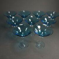"9 Light BLUE Color Swirl Cone Cup & Clear Base Hand Blown Martini Glasses 5.5"""