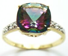 SYJEWELLERY 9CT YELLOW GOLD SQUARE MYSTIC TOPAZ & DIAMOND RING SIZE N R1434