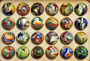 "Original Wooden Collector Box 24 Jabo Joker PREMIUM Marbles. All MINT.  3/4"""
