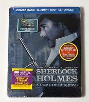 Sherlock Holmes Game of Shadows Limited Edition STEELBOOK BLURAY DVD UV USA NEW