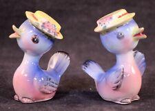 Vintage Set Of Ceramic Blue Birds With Hats Salt & Pepper Shakers.