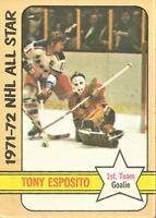 1972-73 Topps Hockey Tony Esposito Chicago Black Hawks NHL All-Stars Card #121