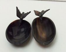 Pair Of Vintage Brown Shell Ashtrays Preowned Unboxed (862D0J)