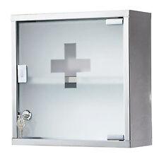 Cassetta per medicinali 30x12x30 cm acciaio con anta vetro e chiave bagno design
