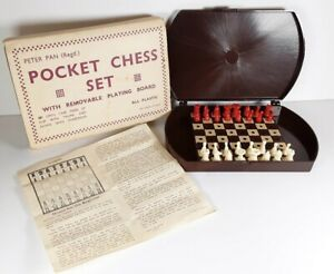 Vintage Peter Pan Travel Pocket Chess Set in Case with Removable Playing Board