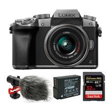 Panasonic LUMIX G7 Mirrorless Digital Camera (Silver) with Lens and Mic Bundle