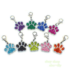50 Pet ID Dog Cat Tags Paw Print Dangle Hang Charms With Lobster Clasp  Keyring