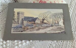 A Vintage water colour picture sketch of a church in the the Gower Wales.
