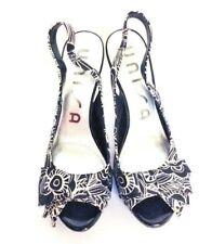 Unisa Women's Slingback Platform Black And White Pumps Dress Sandals  7.5 Satin