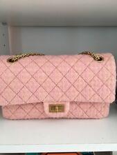 Authentic Chanel Pink Tweed Reissue classic flap medium