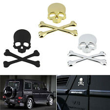 3D Metal 3 Colors Skull Crossbones Car Sticker Window Styling Decal, Chrome