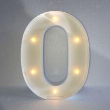 Vintage White Large Wooden Block Freestanding Alphabet LED Light UP Letter O