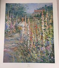 Gordon, L.-HollyHocks-Landscape-Art For Sale