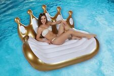 2 Person Inflatable Throne Island Mat Lounger Swimming Pool Float Beach Chair