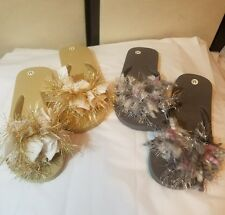 2 pair Womens FLIP FLOPS Hand Decorated Silver & Gold PRETTY Bling SZ M 5-6 NEW