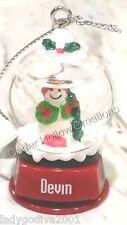 Personalized Snow Globe Ornament - Devin - FREE Shipping