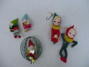 Fantasy Figure Ornament Lot Elves Gnomes Vintage Christmas Decorations Dolls