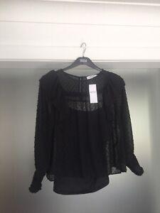 Dorothy Perkins Petite Black Spot Top Size 12 New RRP £26