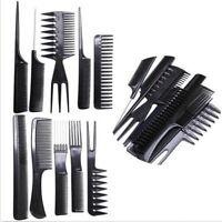 10pcs Peignes Brosses Cheveux Dent Outil Salon Coiffure Coiffeur Combs Kit Noir