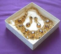 AMAZING VINTAGE RETRO 1970s CASCADING AMBER GLASS CABOCHONS NECKLACE & EARRINGS